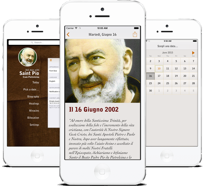 iPhone App Screenshots for Padre Pio